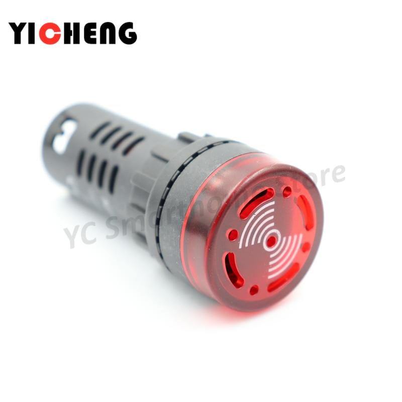 2pcs AC 220V 22mm Red LED Flash Alarm Indicator Light Lamp with Buzzer