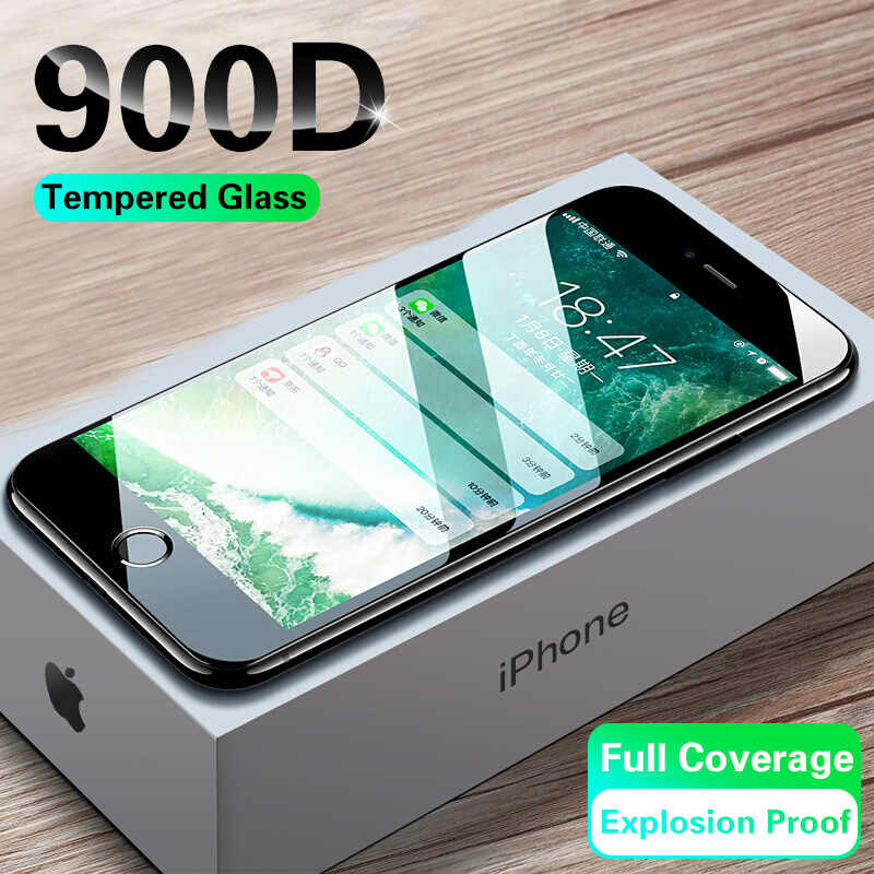 Vidrio Protector de pantalla templado 900D para iPhone 7 8 6 6s Plus para iPhone 11 Pro X XR XS Max Glass