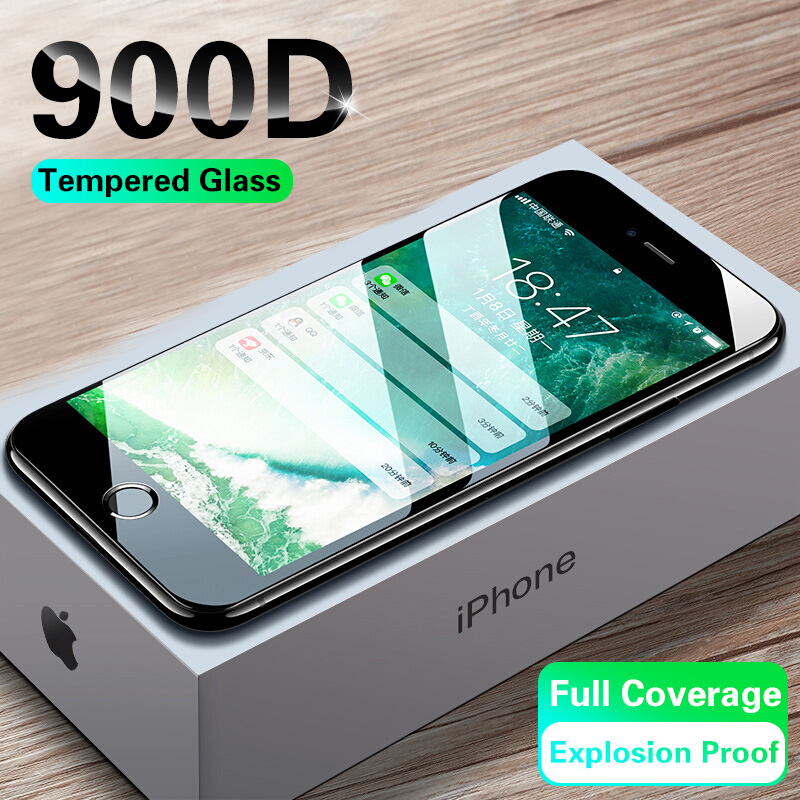 900D Curved Edge Protective Glass On The For IPhone 7 8 6 6s Plus Tempered Screen Protector For IPhone 11 Pro X XR XS Max Glass