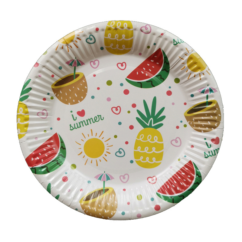 Pineapple Pattern Paper Cake Tray 10 PCS/Bag Photographic Prop Accessories Cosmetics Filming Decoration