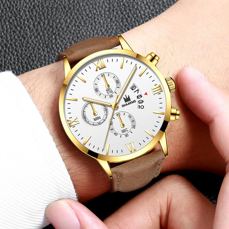 Fashion Casual Brown Watch Leather Band Stainless Steel Analog Quartz Wristwatch Male Men Classic Date Watches Relogio Masculino