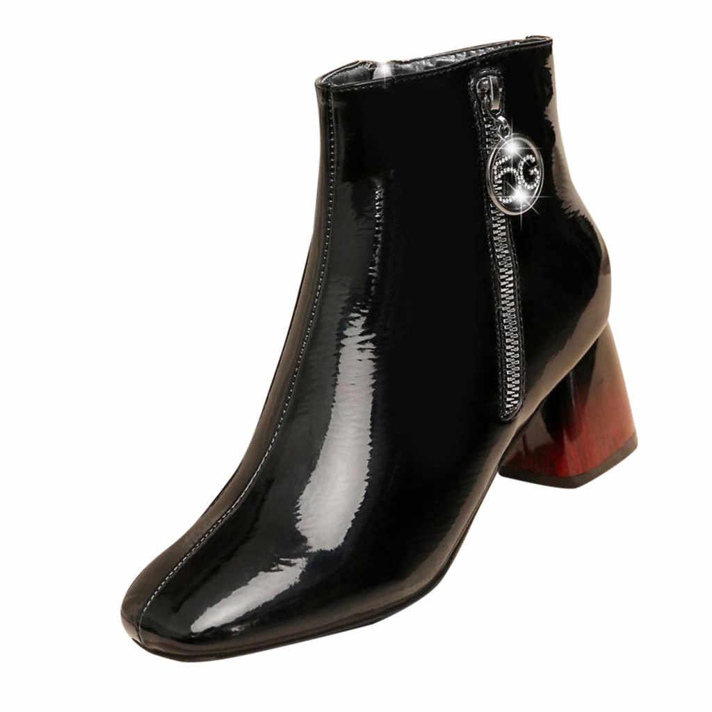 2020 ฤดูใบไม้ผลิใหม่ฤดูหนาวแฟชั่นซิปสแควร์ Toe ส้นสูงข้อเท้ารองเท้าผู้หญิงรองเท้าสีดำรองเท้าหนัง 19 # O22