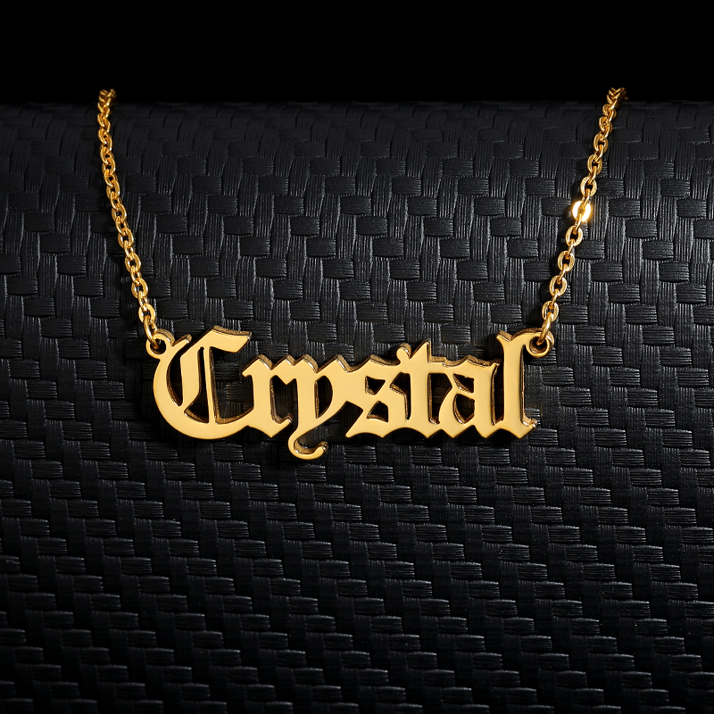 Personalized Custom Old English Name Necklaces For Women Men Gold Silver Color Stainless Steel Chain Pendant Necklace Jewelry