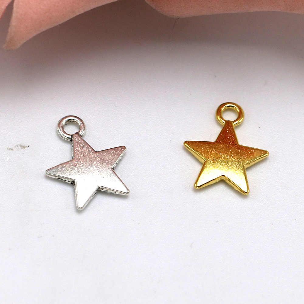 30pcs Pendenti e Ciondoli Star 13x10mm Argento Tibetano Placcato Pendenti con gemme e perle Antico Monili Che Fanno Accessori FAI DA TE Fatti A Mano Del Mestiere All'ingrosso