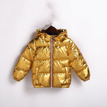 Boys Winter Coats Girls Down Cotton Parkas 2019 Fashion Gold Sliver Hoodies Children Warm Outwear for Toddler 2 3 4 5 6 7 8 Year(China)