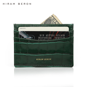 Image 3 - Hiram Beron Genuine Leather Card Holder Men Cow Leather With Crocodile Pattern Wallet Free Custom Name ID Credit Card Wallet