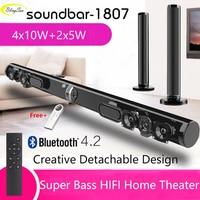 Wireless TV Soundbar Bluetooth Speaker Stylish Fabric Sound Bar Hifi 3D Stereo Surround Support RAC AUX HDMI For TV Home Theater
