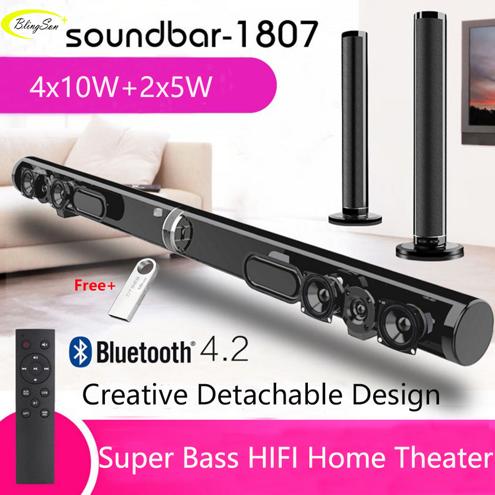 Wireless TV Soundbar Bluetooth Speaker Stylish Fabric Sound Bar Hifi 3D Stereo Surround Support RAC AUX HDMI For TV Home Theater image