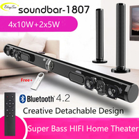Wireless TV Soundbar Bluetooth Speaker Stylish Fabric Sound Bar Hifi 3D Stereo Surround Support RAC AUX HDMI For TV Home Theater