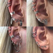 Hot Punk Style Silver Color Earring Sets Ethnic Bohemia Ear Clip Stud Earrings For Women Feather Leaf Owl Earrings Wholesale