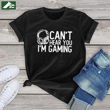 Flc 100% хлопковая kawaii футболка женщин can't hear you