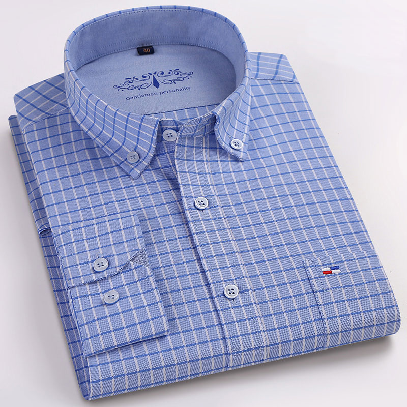New High Quality 100% Cotton Men's Oxford Shirts Long Sleeve Formal Business Smart Casual Shirt Social Button-Down Dress Shirt