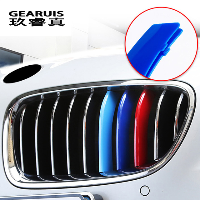Car Styling For BMW X3 x4 f25 f26 g01 g02 Accessories Head Front Grille For M Sport Stripes Grill Covers Cap Frame Auto Stickers 4