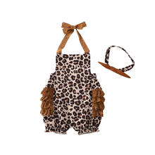 Cute Newborn Baby Girl Sleeveless Romper Leopard Bodysuit Headband Outfit Set(China)