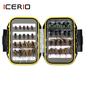 ICERIO 40PCS Wet Dry Flies Nymph Ant Tying Hook Trout Fishing Fly Lure Bait Waterproof Box Tackle