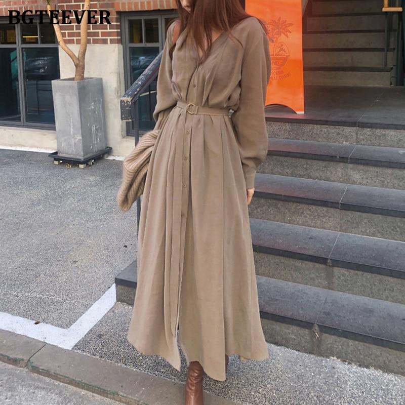 BGTEEVER V-neck Single-breasted Female Long Dress 2020 Spring Elegant Long Sleeve Belted Women Dress Straight Loose Vestidos