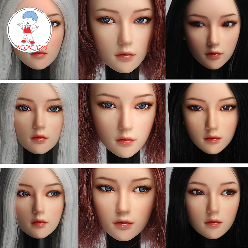 SUPER DUCK 1/6 SDDX02 <font><b>Sexy</b></font> Asian Girl Head Scuplt Moveable Eyes Version for 12inch Phicen Tbleague Jiaoudoll Pale <font><b>Figure</b></font> Body image