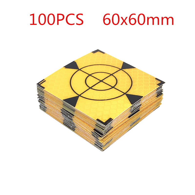 100 pçs de alta qualidade novo triângulo amarelo refletor folha fita alvo 20 30 40 50 60mm para sokkia sul nikon estações totais