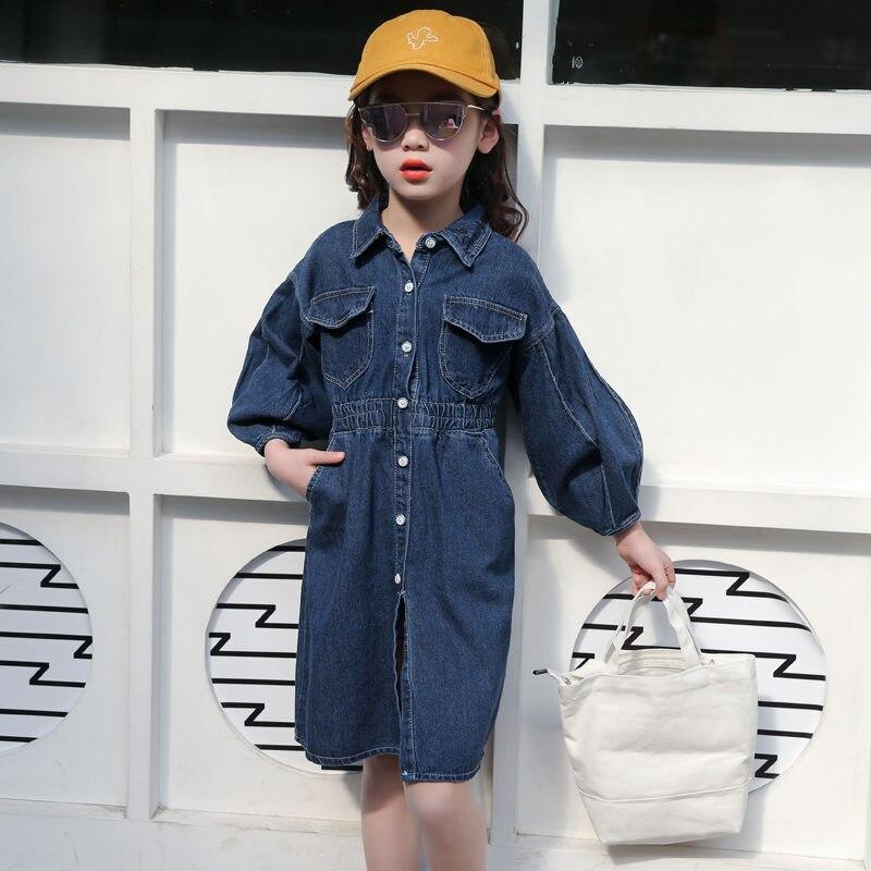 Купить с кэшбэком Korean Style Full Sleeve Denim Dress for Girls Spring Autumn Jeans Dress Long Pattern Girls Clothing Teenagers Denim Tops 4-13T