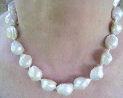 + + + Nouveau FIine perle bijoux dames lustré naturel 22-25mm blanc Baroque perles collier 18 pouces