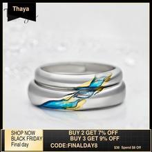 Thaya S925แหวนคู่เงินอื่นๆShore Starry Designแหวนผู้หญิงผู้ชายปรับขนาดได้สัญลักษณ์Loveงานแต่งงานของขวัญเครื่องประดับ
