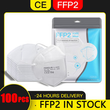 Masque facial FFP2, lot de 100 pièces, filtre KN95, anti-poussière, livraison depuis l'espagne