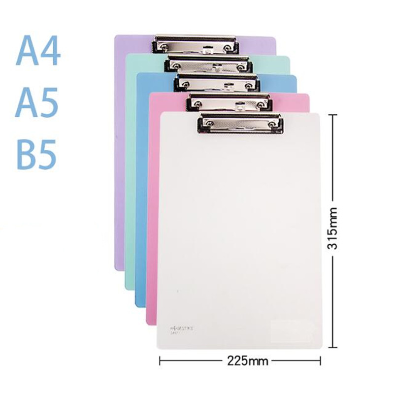 5 Colors A4 Plastic Clip Board Portable File Folder Clipboard with Hook Drawing Writing Pad Office Supplies Student Stationery