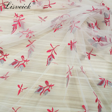 1yard Fashion new color flower mesh embroidery tulle lace fabric wedding dress skirt DIY handmade French