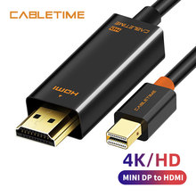 Cabletime Mini DP to HDMI 4K Mini DisplayPort to HDMI Adapter HDMI Display Port Cable for 2K*4K TV Lenovo Computer MacBook N043 elecrow 2pcs lot hdmi to mini hdmi cable 150cm data cable for screen camera and devices with mini hdmi port