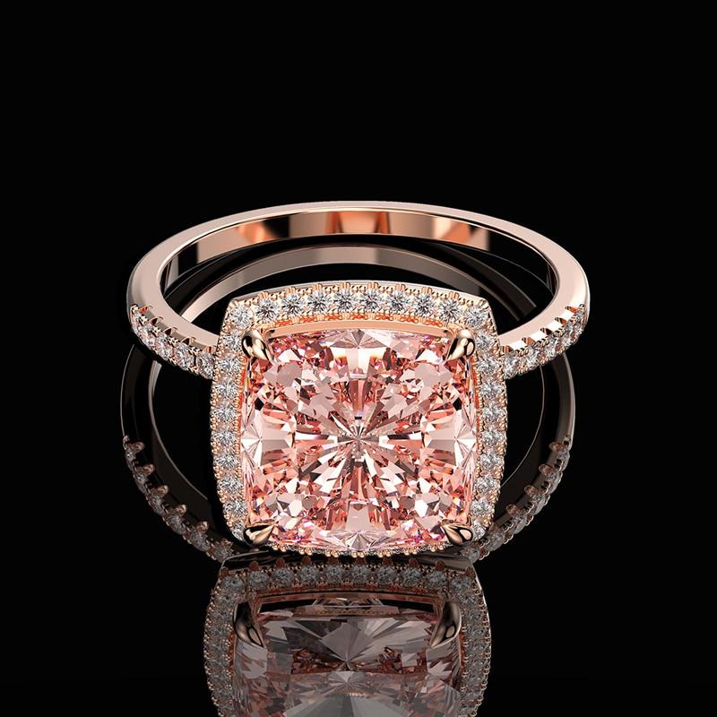 OEVAS Luxury 100% 925 Sterling Silver Created Moissanite Morganite Gemstone Wedding Engagement Ring Fine Jewelry Wholesale