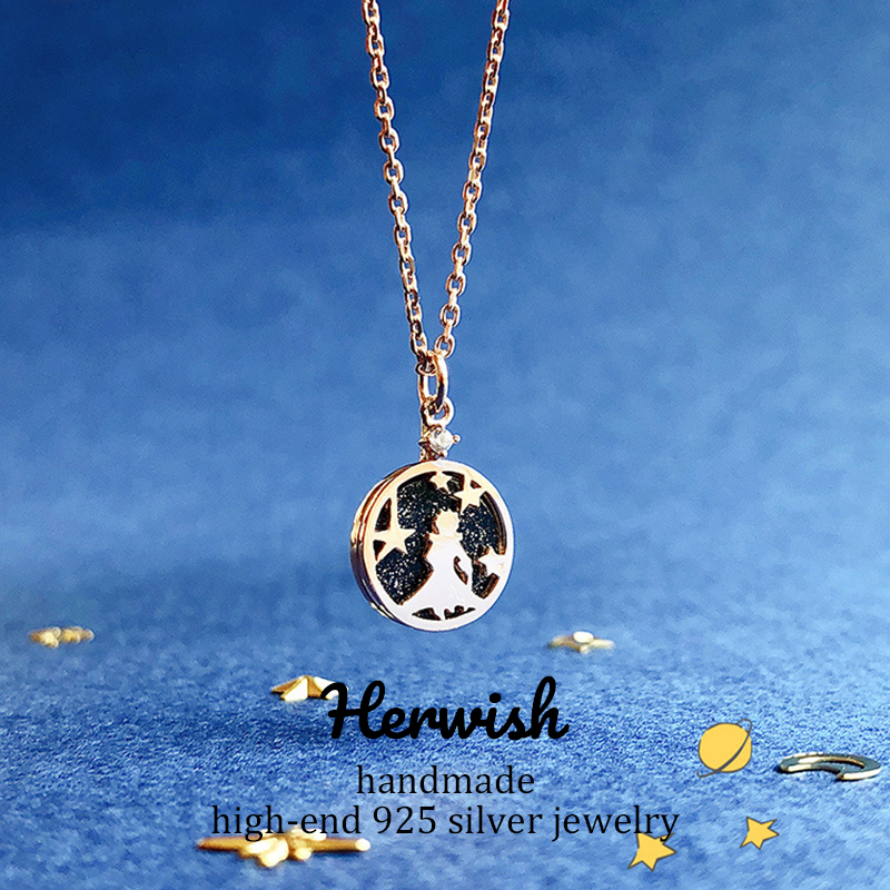 Image 5 - Herwish The Little Prince Pendant Necklace 925 Sterling Silver Bling Ziconia Figure Rose Link Chain Necklaces Women Jewelry-in Pendant Necklaces from Jewelry & Accessories