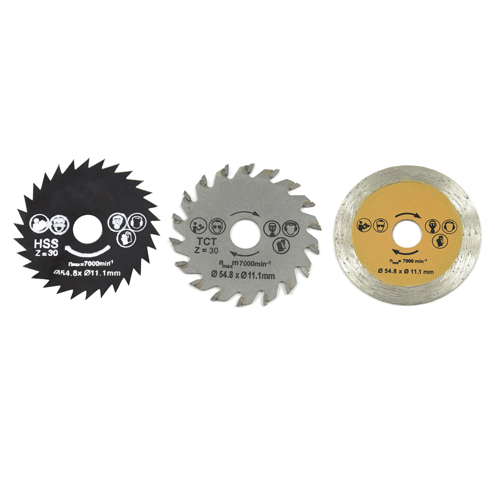 3pcs 54.8mm High Speed Steel Saw Blade HSS Mini Wood Circular Saw Blade Set Cutting Blade Rotary Tool With Mandrel For Industry