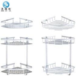 Shengruijia sanitarne Alumimum kosz z siatki półka narożna łazienka dwuwarstwowa trójkąt kosz wyposażenie łazienkowe Acce w Kuchenki mikrofalowe od AGD na