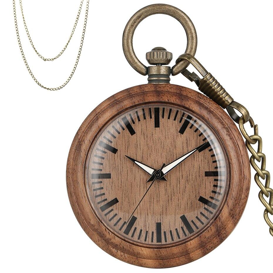Vintage Fashion Coffee Brown Walnut Wood Watch Men Women Pendant Pocket Watch Quartz Timepiece Exquisite Pocket Clock Fob Chains