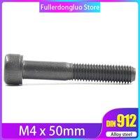 M4x50 25Pcs Black Grade 12.9 Alloy Steel Blackening Hex Socket Head Cap Screw ( m4x50mm m4 x 50 m4 50mm )