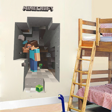 Popular Mosaic Game Wall Stickers For Kids Room Home Decoration Steve Minecraft 3d Wall Mural Art Boys Decals Pvc Poster цена и фото
