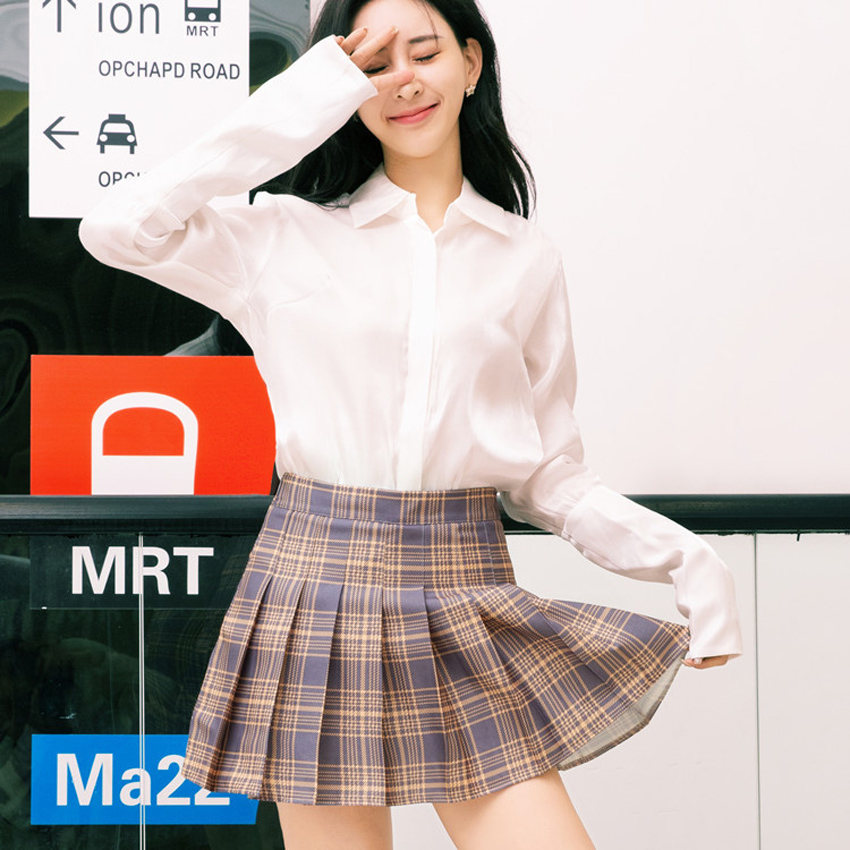 Korean Version Woman Japanese School Uniform Skirt High Waist A-line Summer Girls Plaid Pleated Harajuku Kawaii Cosplay JK Suit