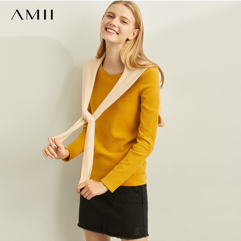 Amii Minimal Fashion Joker Commuter Wool Knitted Shirt Women Spring New Round Neck Slim Solid Color Jacket 11960134