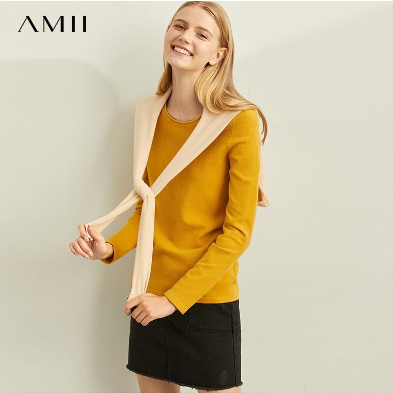 Amii Minimal Fashion Joker Commuter Wool Knitted Shirt Women Spring New Round Neck Slim Solid Color Jacket 11960134