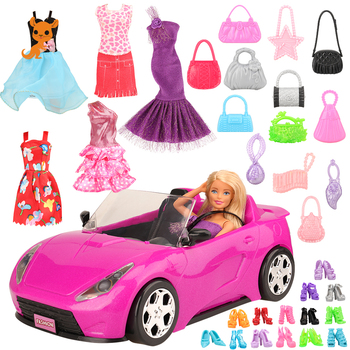 Handmade 26 item/set DIY Doll Accessory Kids Toys For Girl = 1 Toy car +5 Dolls Clothes +10 random shoes Objects For Barbie Game 9 item set doll accessories 3 pcs doll clothes dress 3 plastic necklace random 3 pairs shoes for barbie doll girl gift toy