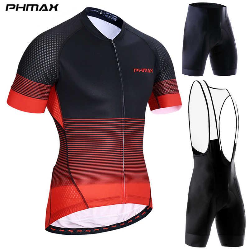 PHMAX ショーツ袖サイクリングジャージセット MTB 速乾バイク服夏バイクビブショーツサイクリングセット自転車服男のための