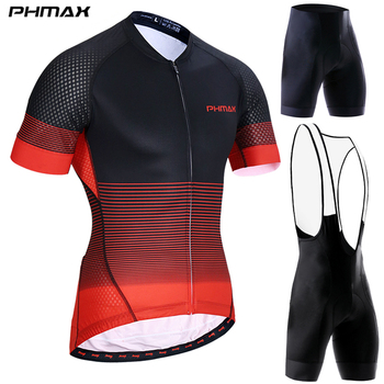 PHMAX Shorts Sleeves Cycling Jerseys Set MTB Quick-Dry Bike Clothing Summer Bib Bicycle For Man - discount item  47% OFF Cycling