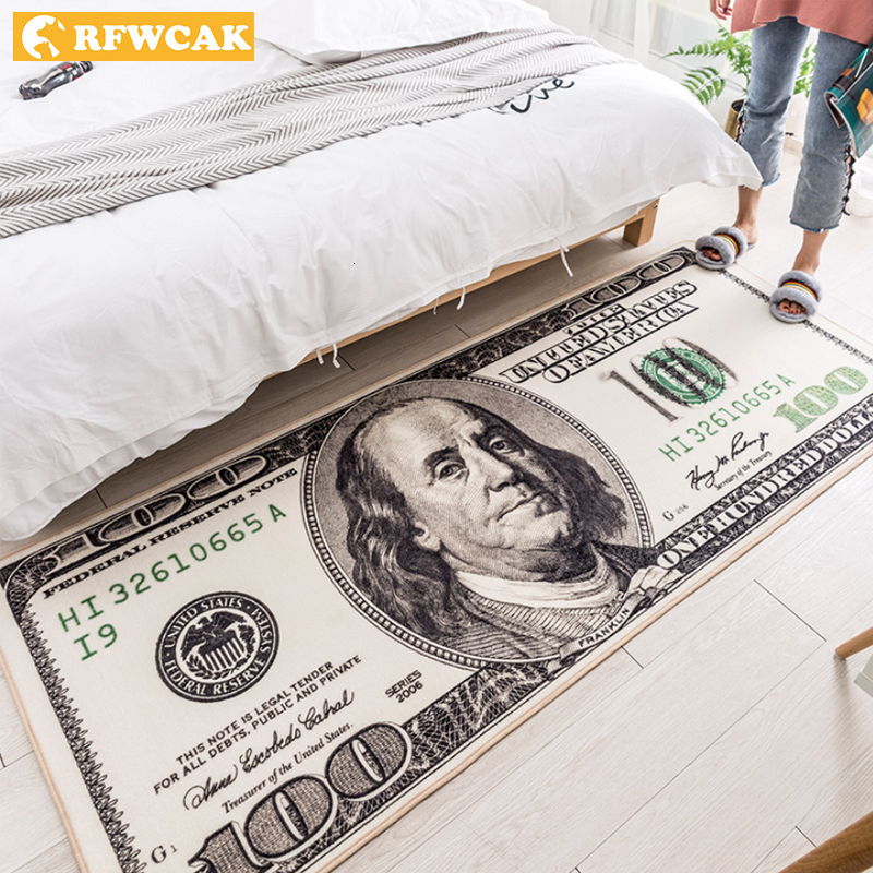 RFWCAK Creative USA Dollar 3D Carpet For Living Room Area Rug Floor Mat Bedside Hallway Doormat Kids Bedroom Rug Decoration Home