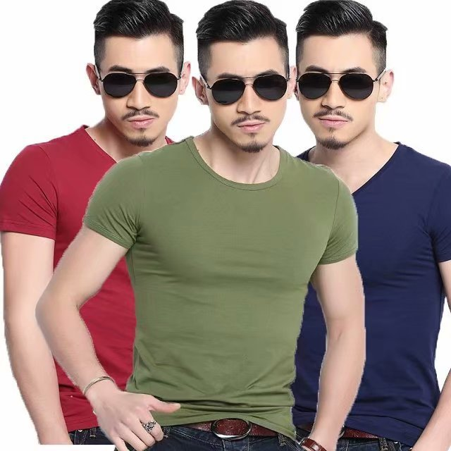 Summer Wear Pure White Men's Round Neck T Shirt Solid Color Short Sleeve Tide The Fat Large Size Rendering Unlined Shirts
