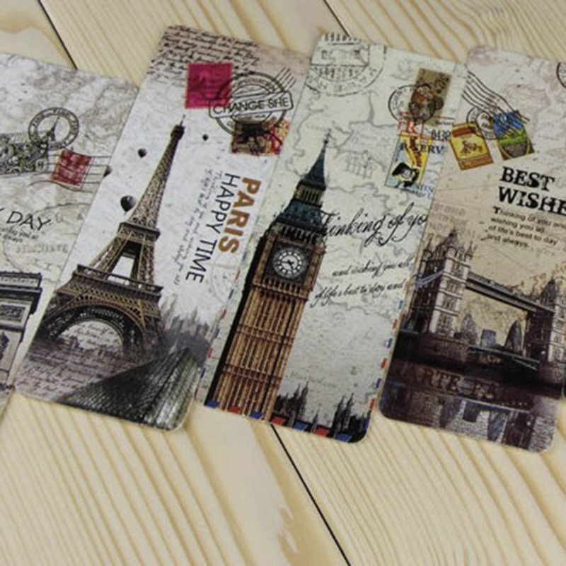Hethrone 30Pcs/set Vintage Europe Scenery Eiffel Tower London Paper  Bookmark Papelaria Boekenlegger Bookmarks Book Clip Supplie