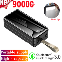 90000 MAh Large Capacity Power Bank Portable Charger Outdoor Travel Emergency Power Bank 4USB Port for Samsung Xiaomi IPhone