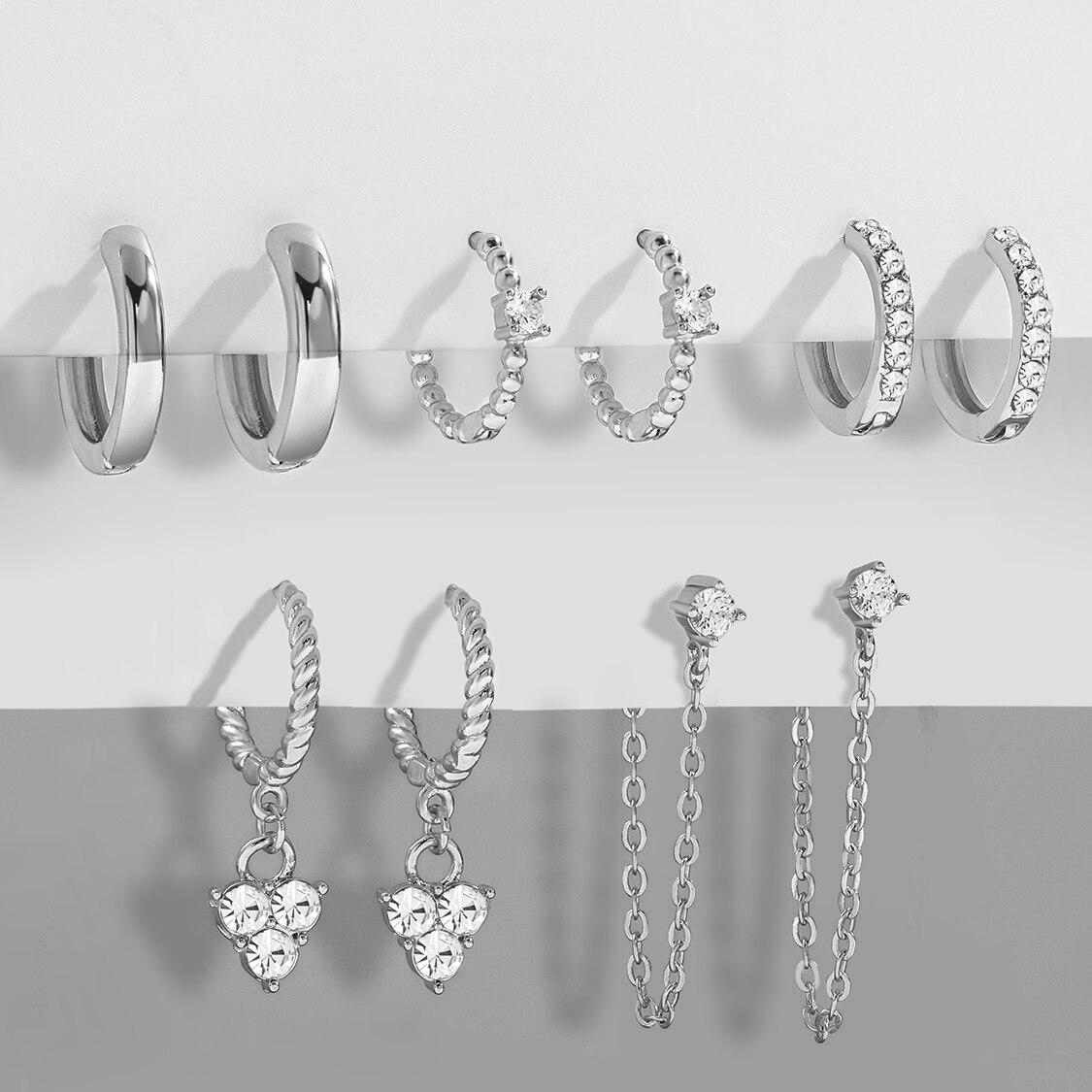 5 pair Silver Color