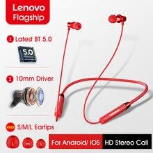 Lenovo HE05 Oortelefoon Bluetooth5.0 Draadloze Headset Magnetische Nekband Koptelefoon IPX5 Waterdichte Sport Oordopjes Noise Cancelling Microfoon