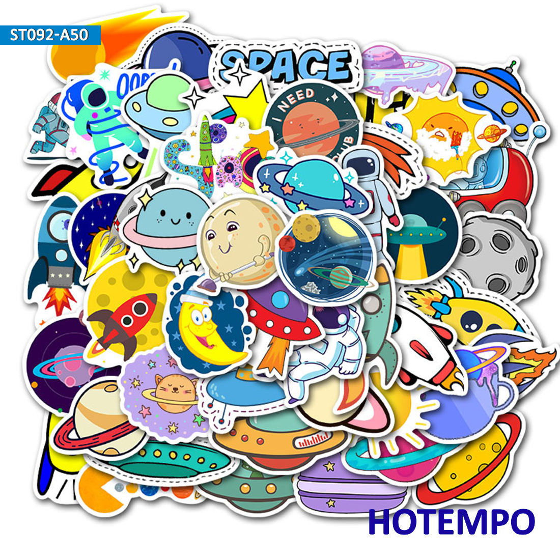 50pcs Outer Space Alien UFO Astronaut Rocket Ship Planet Cartoon Decal Stickers Pack Toy for Kid Phone Laptop Stationery Sticker