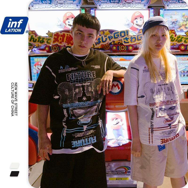 INFLATION Streetwear Print Men T-shirt Street Hip Hop T-shirt 100% Cotton Men's T-shirt Casual Couple Funny Mens T Shirt 1167S20